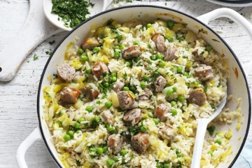 Pork Sausage and Pea Oven Baked Risotto